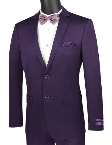 Vinci Slim Fit 2 Piece Suit Narrow Lapel (Purple) US2R-2