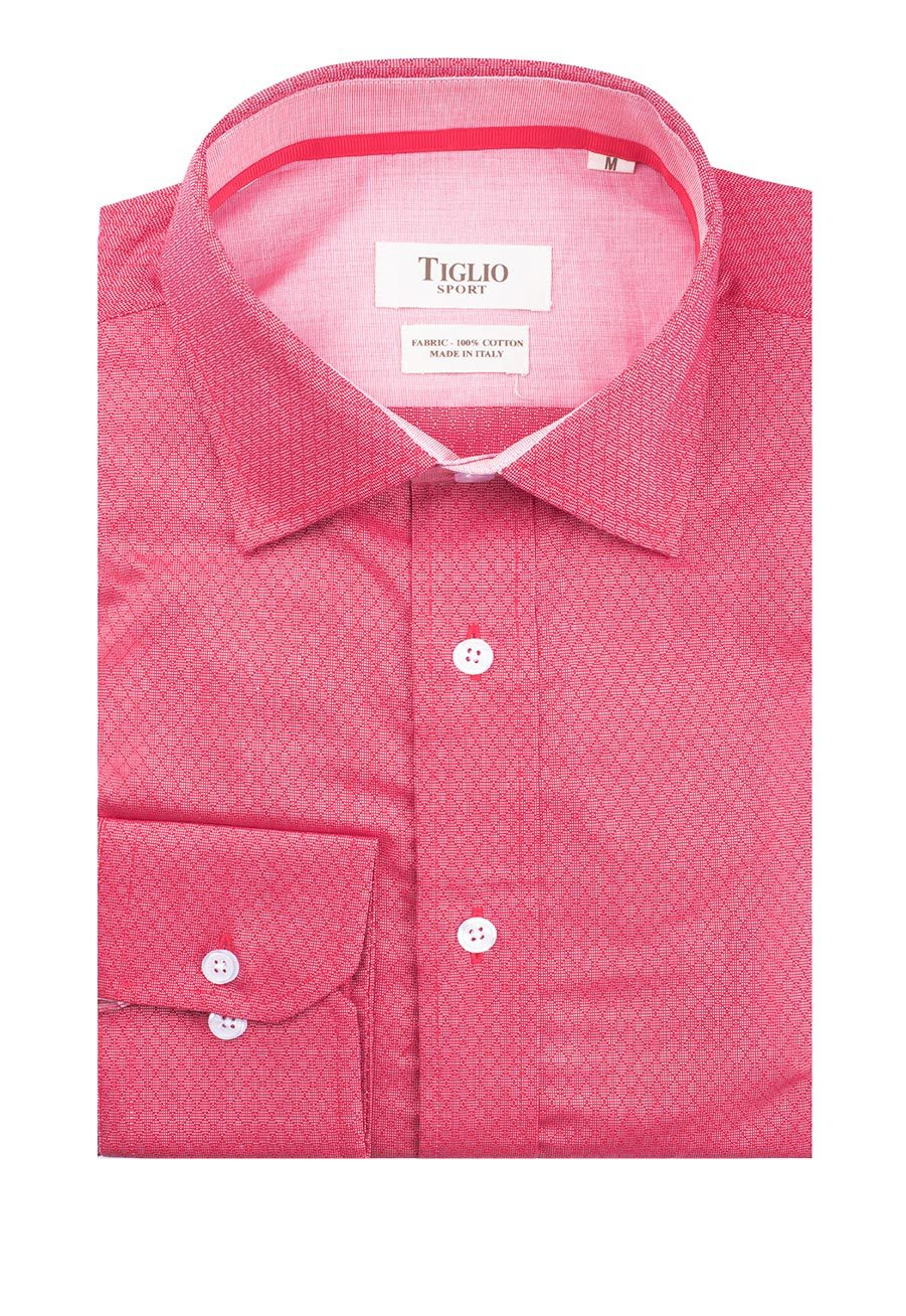 Tiglio Sport Red with Diamond Design Modern Fit Sport Shirt V-76536