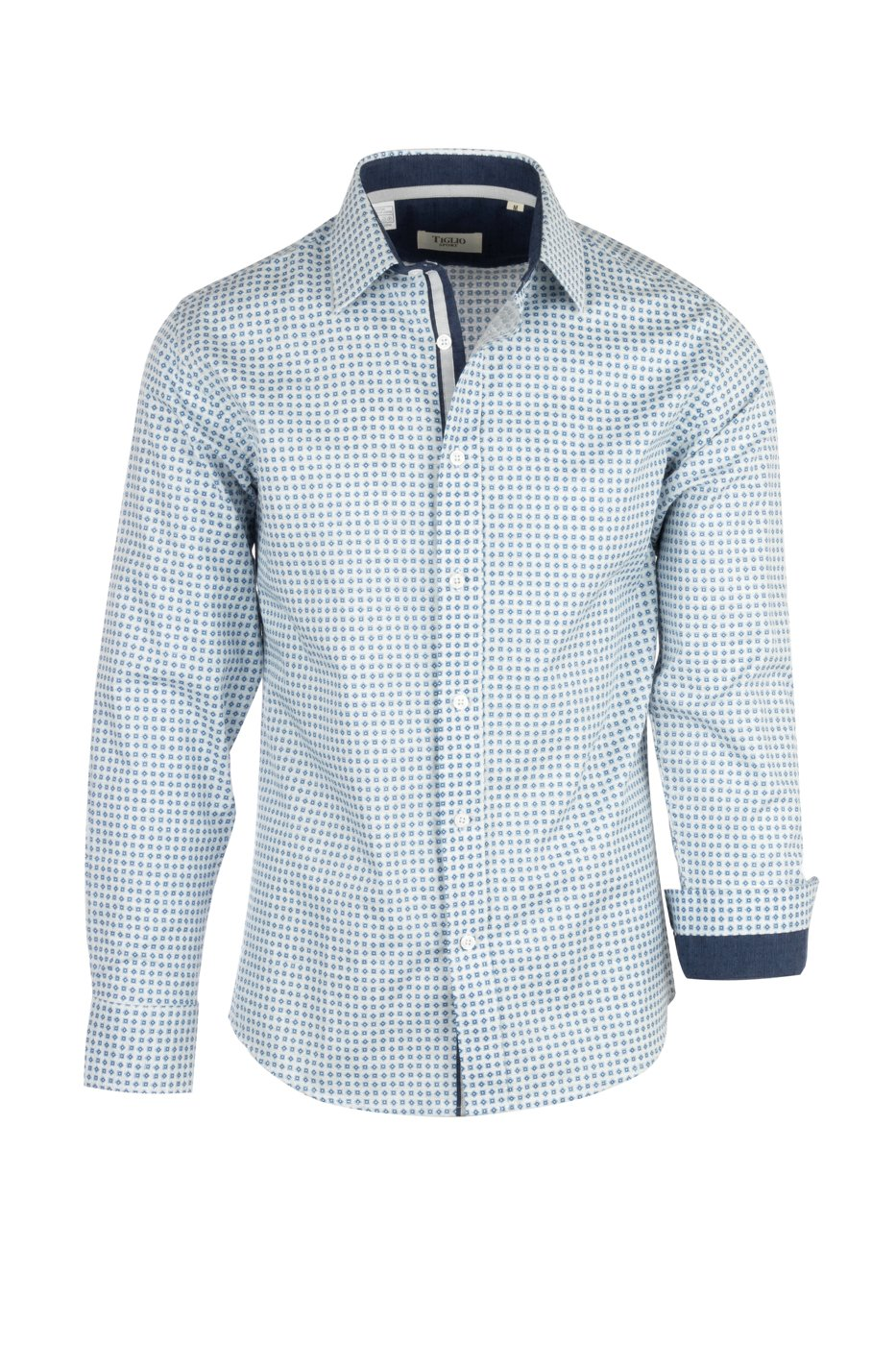 Tiglio Sport Light and Pale Blue Mini-Check Modern Fit Sport Shirt V-90799