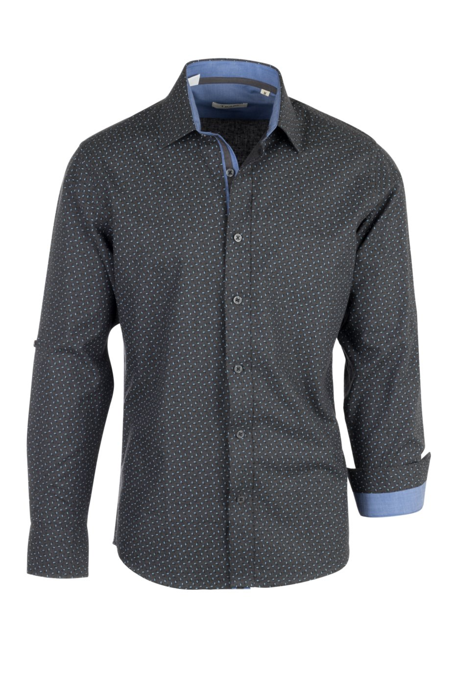 Tiglio Sport Dark Gray with Blue Paisley Pattern Modern Fit Sport Shirt V-90800