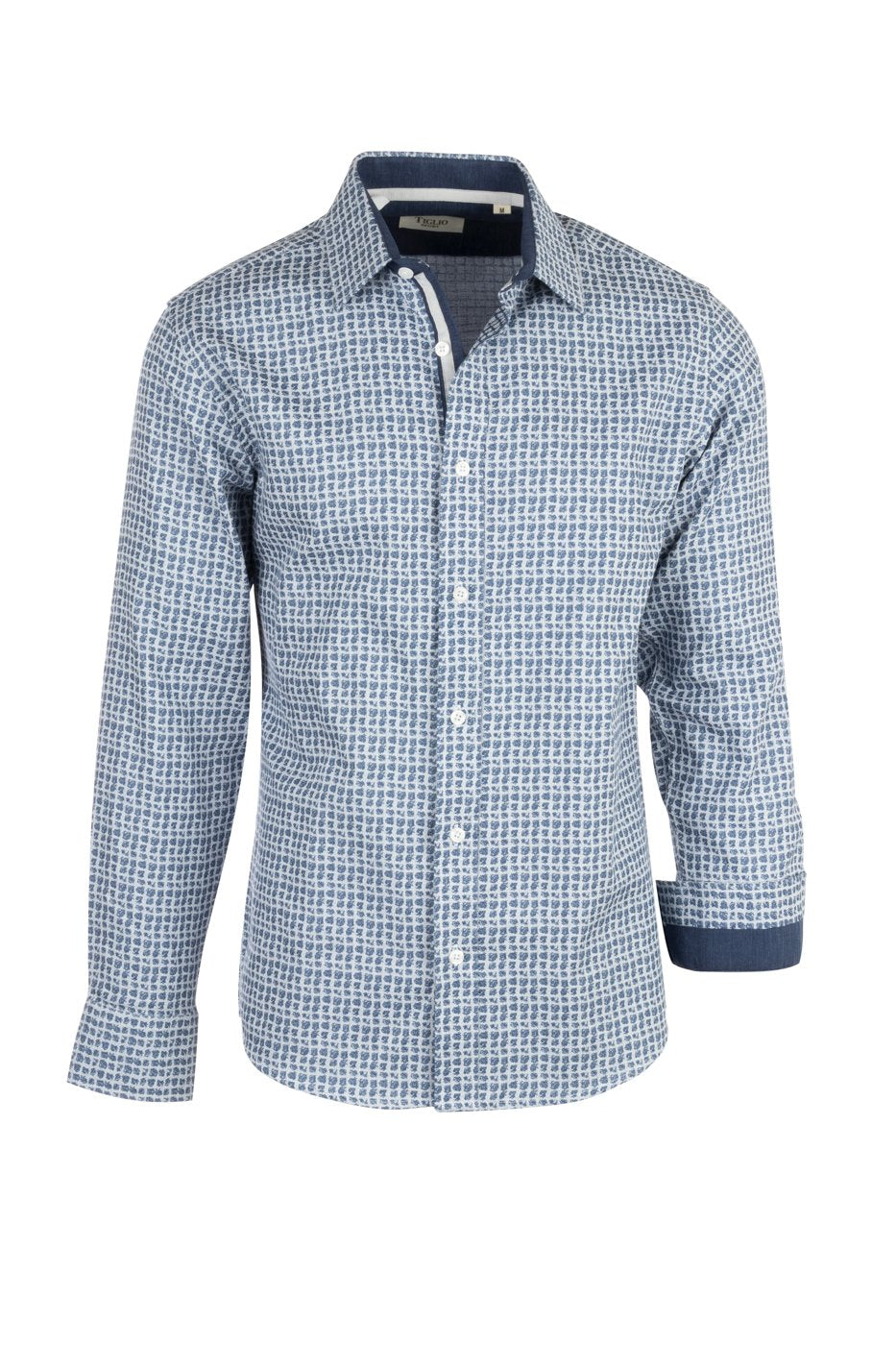 Tiglio Sport White with Blue Pattern Modern Fit Sport Shirt V-90804