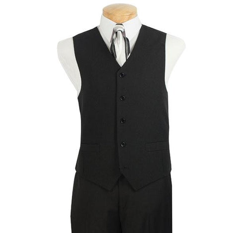 Vinci Regular Fit 5 Buttons Vest (Black) V-PP