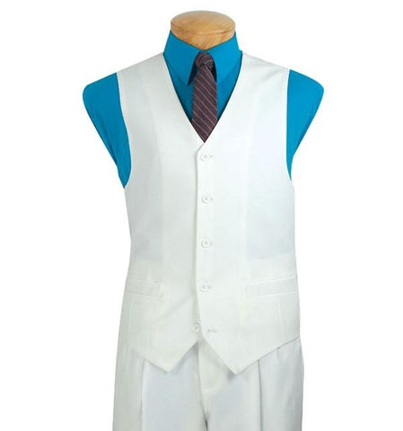 Vinci Regular Fit 5 Buttons Vest (White) V-PP