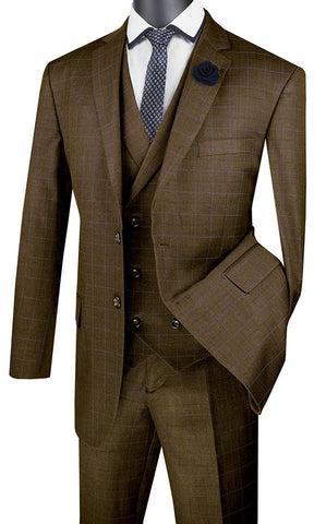 Vinci Regular Fit Glen Plaid 2 Button 3 Piece Suit (Taupe) V2RW-13