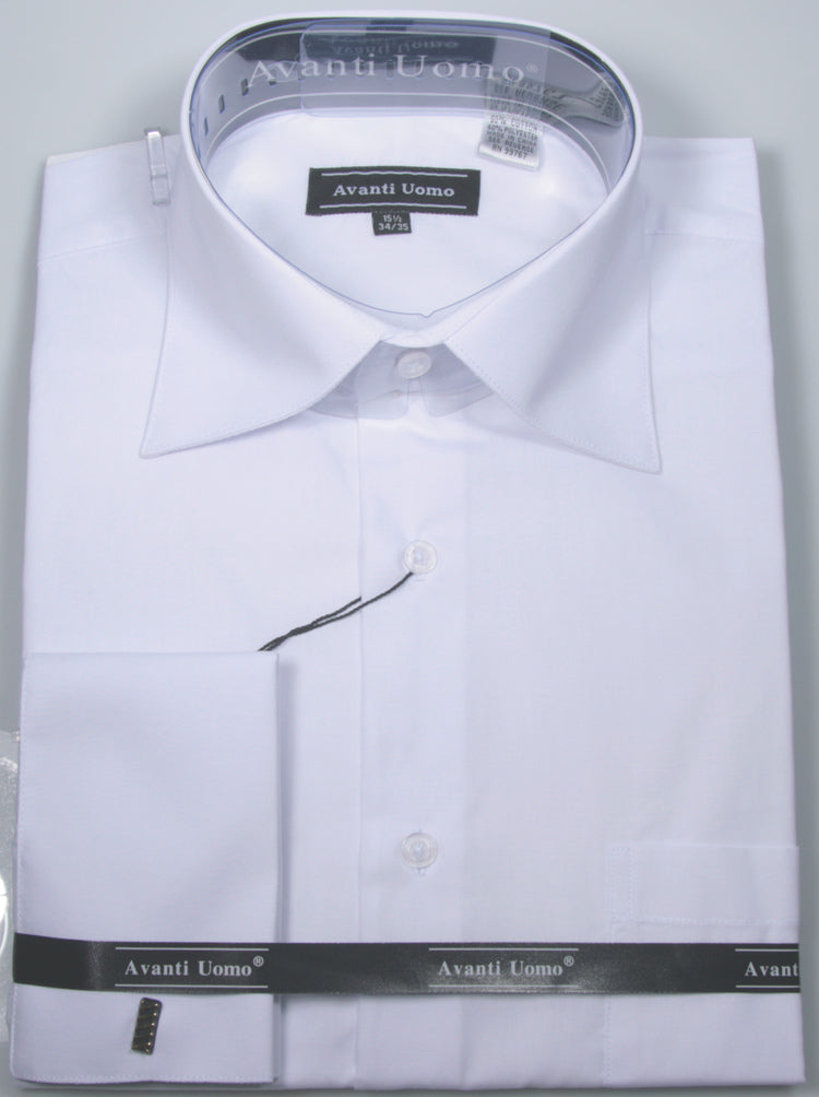 Avanti Uomo French Cuff Dress Shirt DN32M White