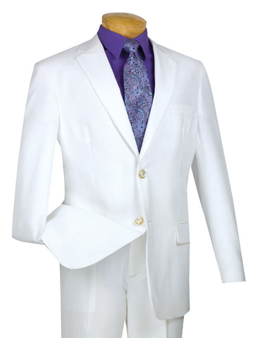 Vinci Regular Fit 2 Button Business Blazer (White) Z-2PP