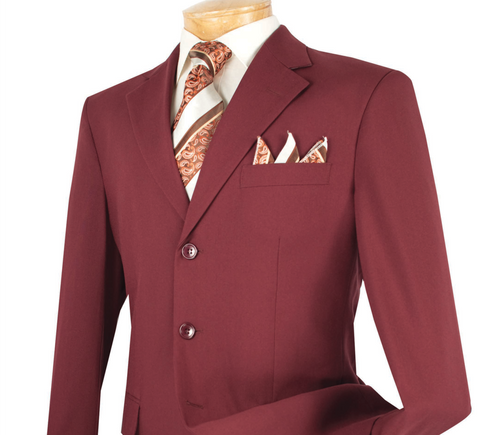 Vinci Regular Fit 3 Button Blazer (Burgundy) Z-3PP