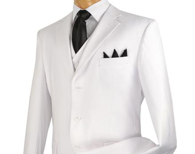 Vinci Regular Fit 3 Button Blazer (White) Z-3PP