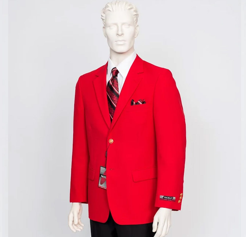 Pacelli Solid 2 Button Red Blazer BLAIR-70008