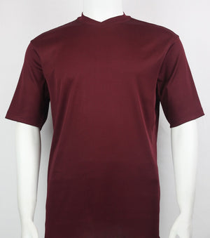 Bassiri S/S V-Neck T-Shirt (Burgundy)