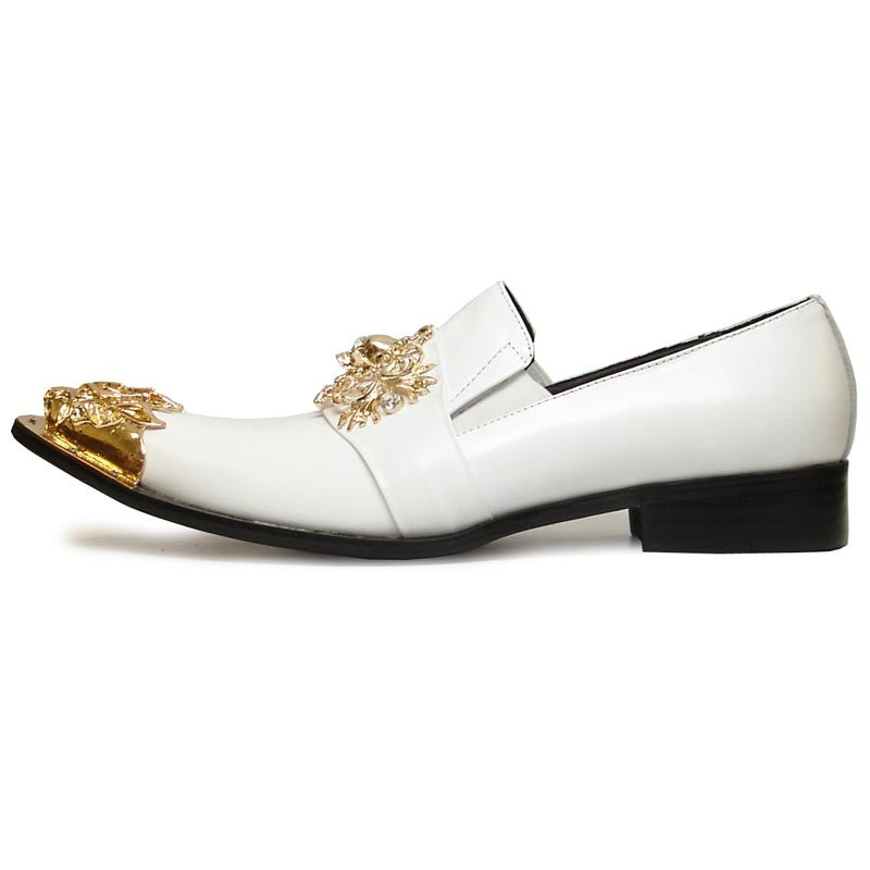 Fiesso By Aurelio Garcia White Leather With Gold Sull & Lion Head Tip FI6907 (7)
