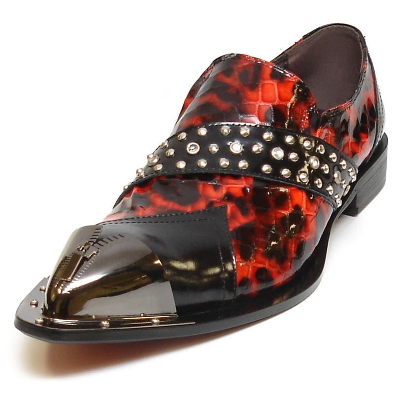 Fiesso By Aurelio Garcia Red & Black Patent With Stud Strap FI6942