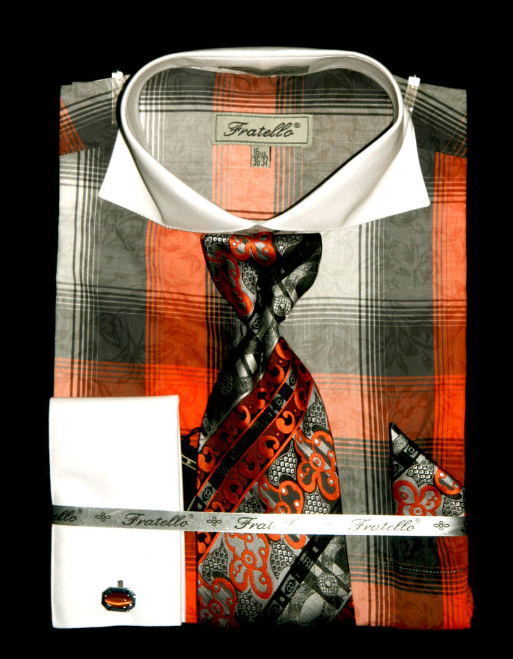 Fratello French Cuff Dress Shirt FRV4119P2 Orange