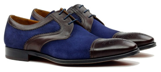 Lorens of Spain Brown & Blue Leather/Suede Cap Toe (JOSE)