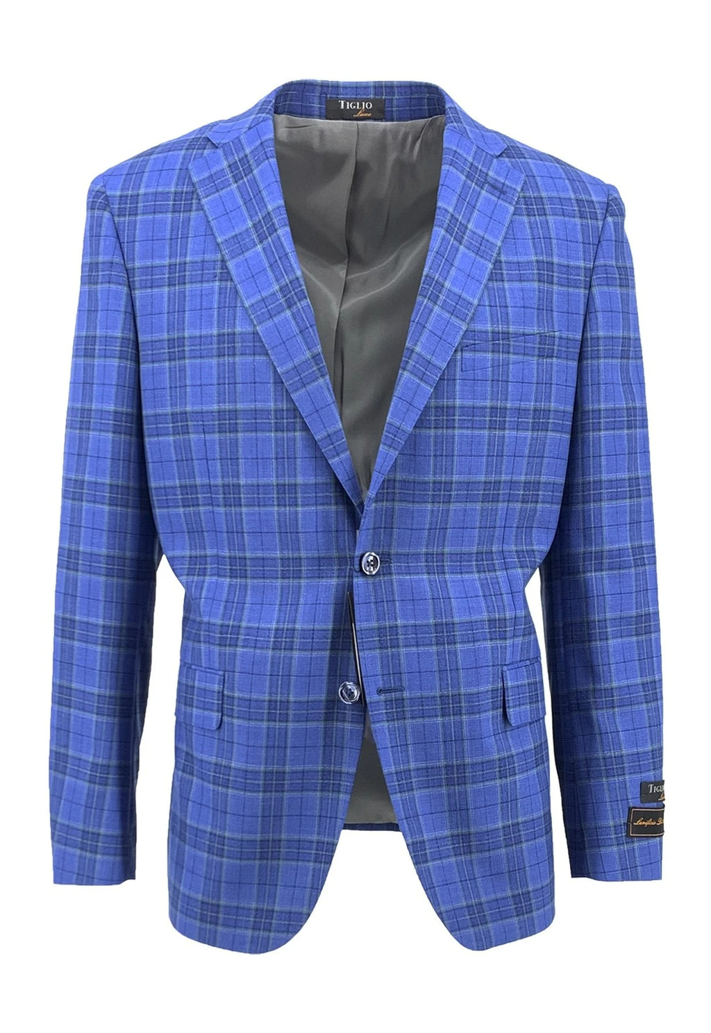 Dolcetto Blue with Green Windowpane Modern Fit, Pure Wool Jacket by Tiglio Luxe TLS20020/1