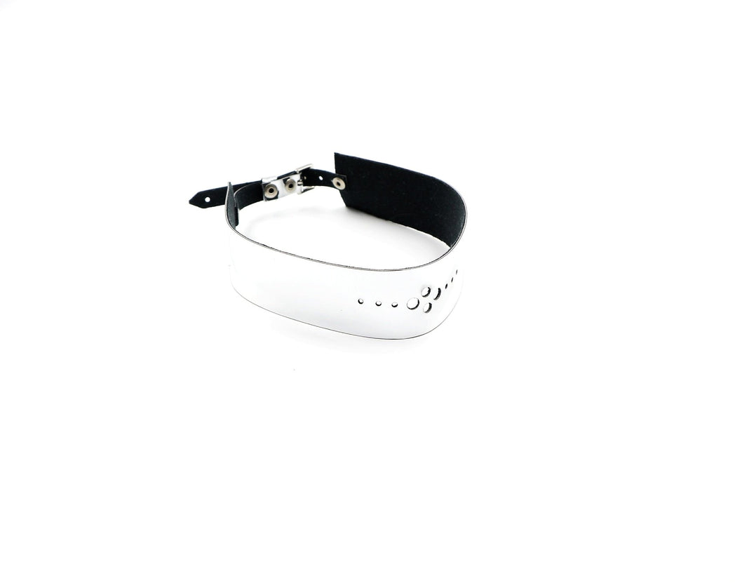 Faux Leather Silver Mirror Choker
