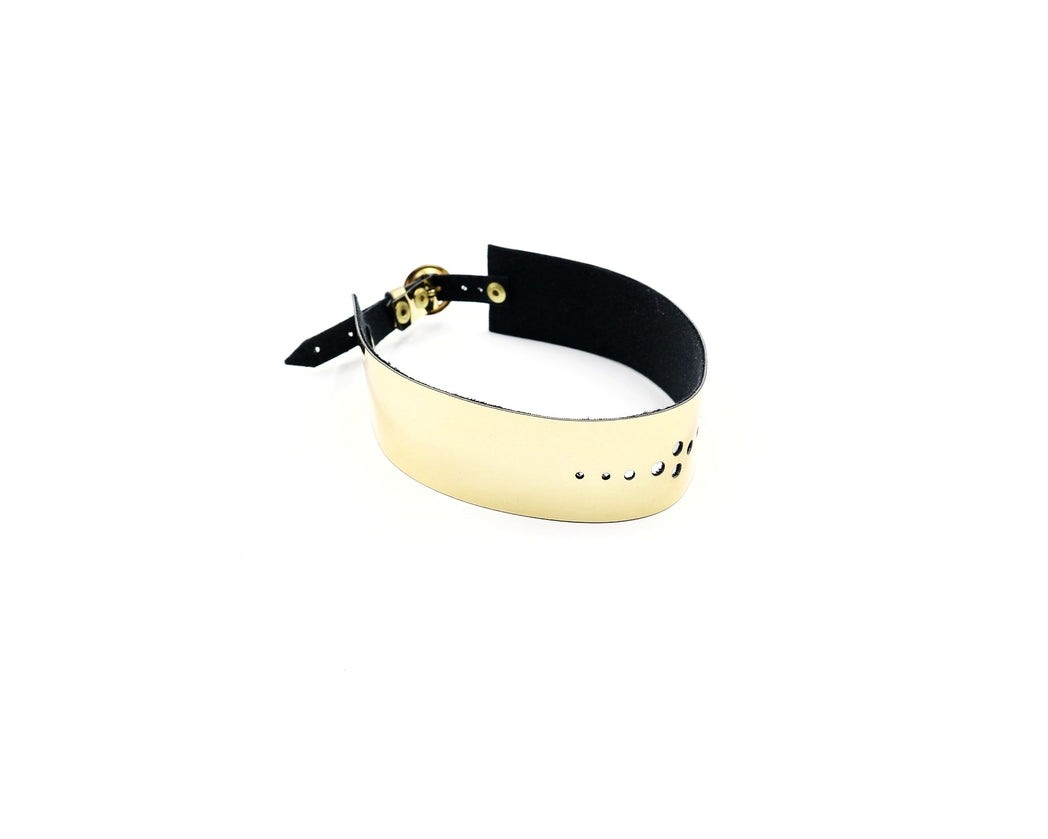 Faux Leather Gold Mirror Choker