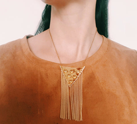 Faux Leather Gold Gypsy Necklace
