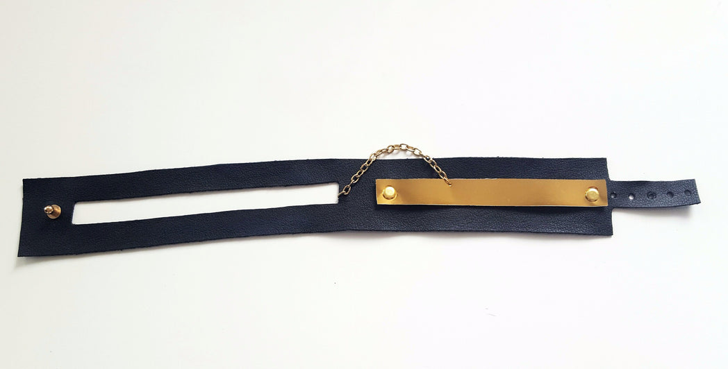Faux Leather Chain Choker