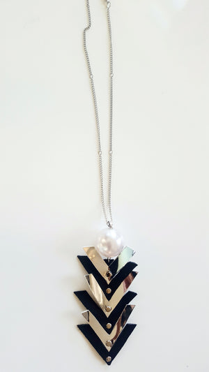 Faux Leather Silver & Black Arrow Necklace