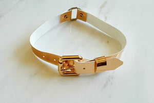 Faux Leather Rose Gold Belt Choker