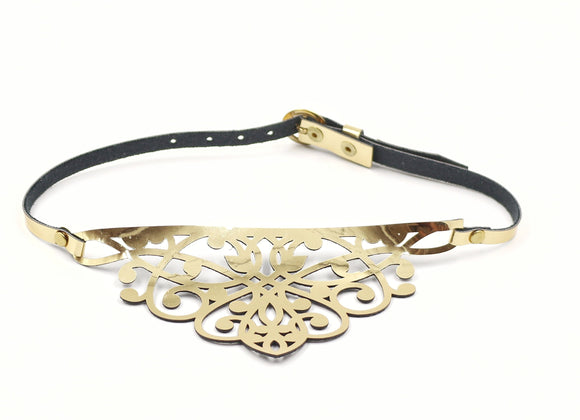 Faux Leather Laser Cut Floral Necklace