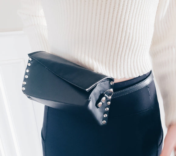 Geometric Faux Leather - Belt Bag