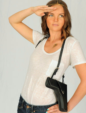 Faux Leather - Embellished Black Holster Purse