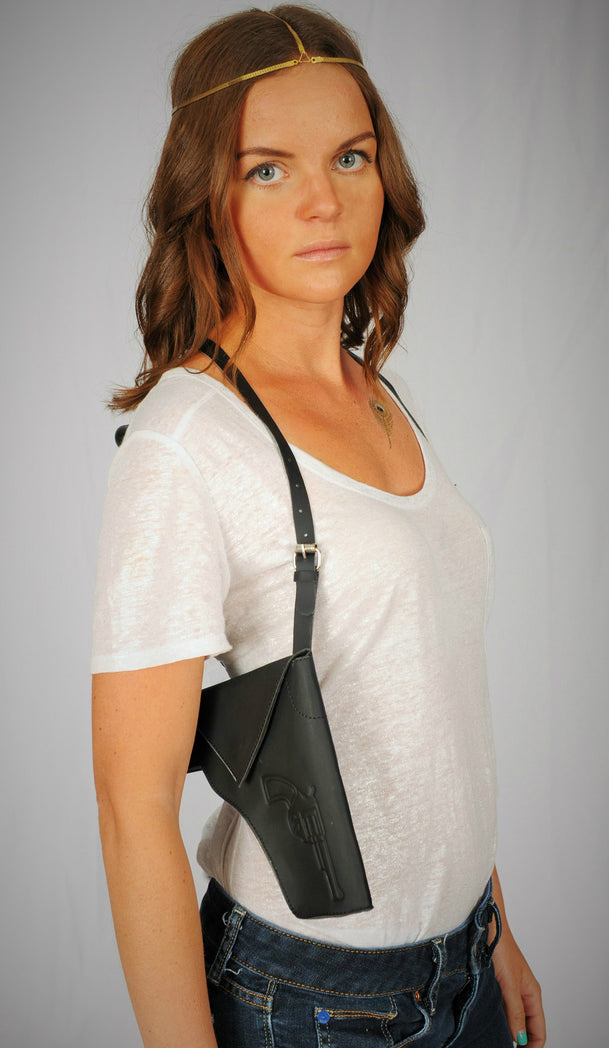 Faux Leather - Black Holster Purse