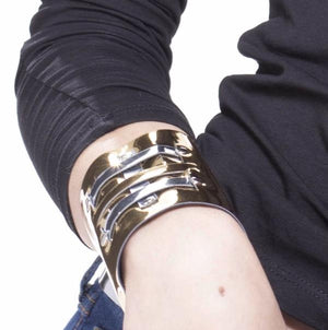 Faux Leather Gold & Silver Cuff