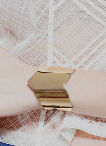 Faux Leather Gold Wonder Cuff
