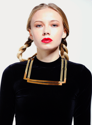 Faux Leather Gold Square NeckLace