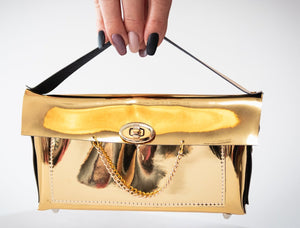 Faux Leather - Gold Chain Clutch