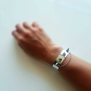 Faux Leather Silver Spike Bracelet