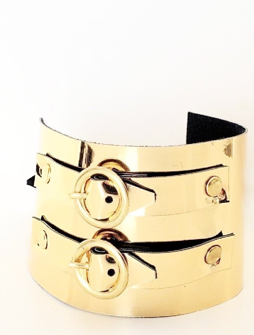 Faux Leather Double Belt Bracelet