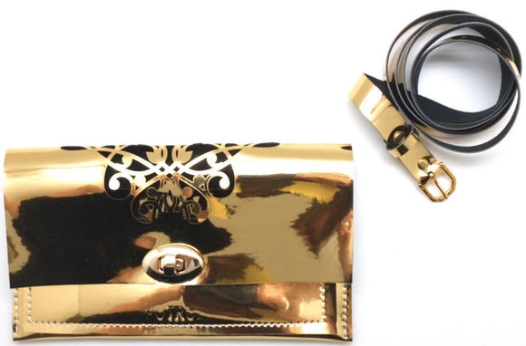 Faux Leather - Laser Cut Floral Belt Bag