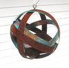 Globe shaped Hanging Bird Feeder - in Welded Steel and Turquoise patina Copper