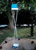 Twist Series welded steel Bird Feeder - White enamel finish with turquoise patina copper roof