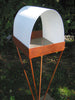 Twist Series welded steel Bird Feeder - natural patina finish with white enamel steel roof