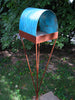 Twist Series welded steel Bird Feeder - natural patina finish with turquoise patina copper roof