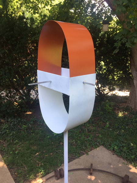 Modern 'Pill' shaped Bird Feeder in Cinnamon and White Enamel