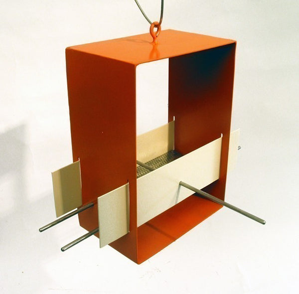 Cubist Modern Bird Feeder / Orange