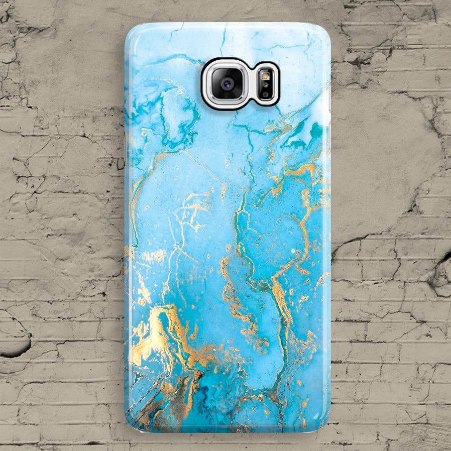 White Blue Gold Turquoise Marble Granite Samsung Galaxy