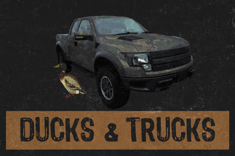 """Ducks & Trucks"" Hunting Sign"