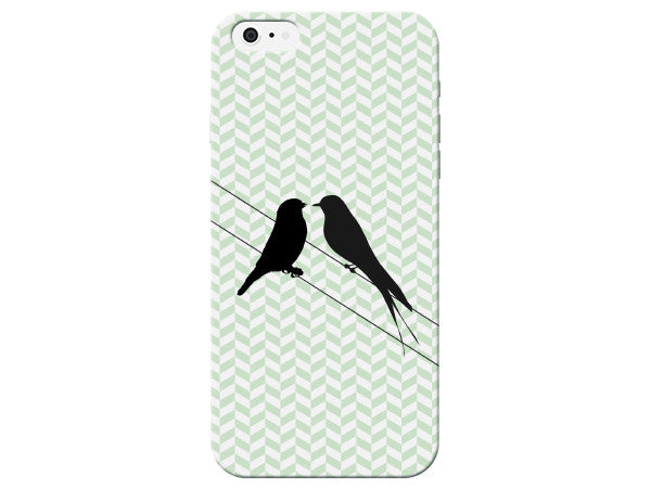 Chevron Stripes with 2 Love Birds Design Phone Case