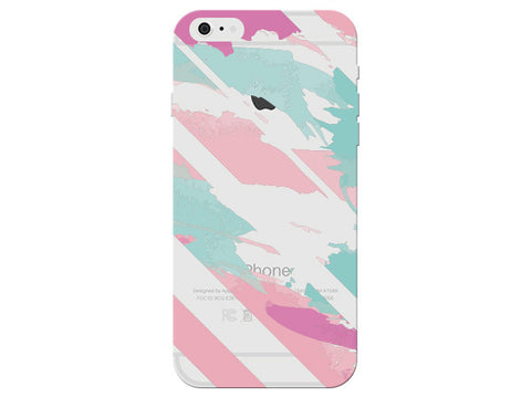 Pink & Aqua Painterly Striped Clear Phone Cover