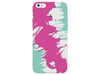 Pink & Aqua Painterly Pattern Striped Clear Phone Cover