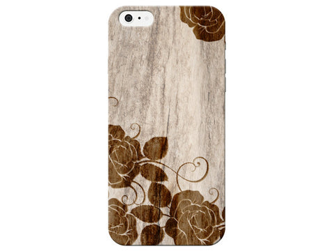 Wood Rose Floral Print Phone Case