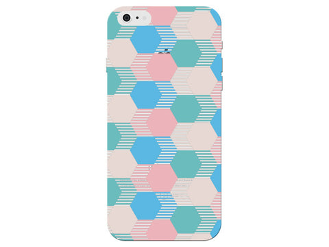 Hexagon Geometric Pink And Blue Pastel Pattern Phone Cover