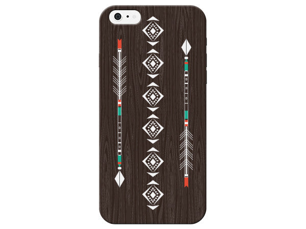 Double Arrow Wood Grain Aztec Pattern Phone Case